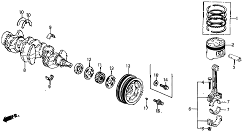 1991 civic LX 4 DOOR 5MT CRANKSHAFT - PISTON diagram