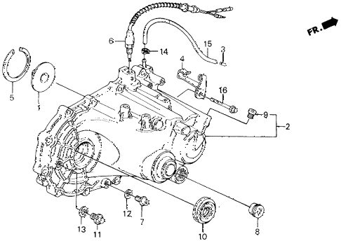 1991 civic LX 4 DOOR 5MT MT TRANSMISSION HOUSING diagram