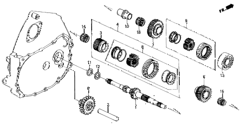 1991 civic EX 4 DOOR 5MT MT MAINSHAFT diagram