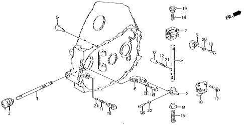 1988 civic DX 4 DOOR 5MT MT SHIFT ROD - SHIFT HOLDER diagram