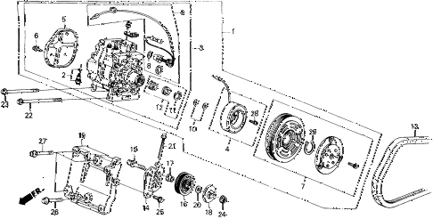 1988 civic DX 4 DOOR 4AT A/C COMPRESSOR (MATSUSHITA) diagram