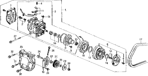 1990 civic LX 4 DOOR 4AT A/C COMPRESSOR (SANDEN) diagram