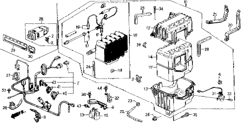 1989 civic LX 4 DOOR 4AT A/C UNIT diagram