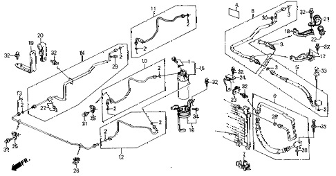 1990 civic DX 4 DOOR 4AT A/C HOSES - PIPES diagram