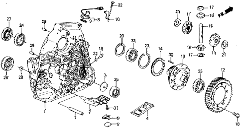 1988 civic DX 5 DOOR 4AT AT TORQUE HOUSING DIFFERENTIAL 2WD diagram