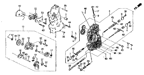 1988 civic DX 5 DOOR 4AT AT MAIN VALVE BODY - GOVERNOR 2WD diagram