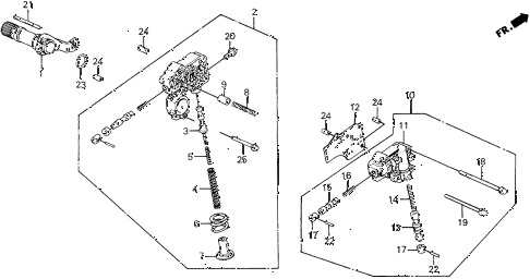 1988 civic DX 5 DOOR 4AT AT REGULATOR - LOCK-UP VALVE 2WD diagram