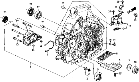 1989 civic 4WD(1600) 5 DOOR 4AT AT TORQUE CONVERTER HOUSING diagram