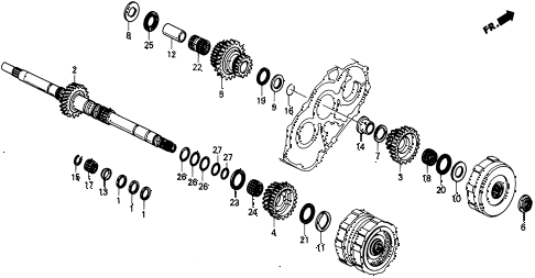 1989 civic 4WD(1600) 5 DOOR 4AT AT MAINSHAFT GEARS 4WD diagram