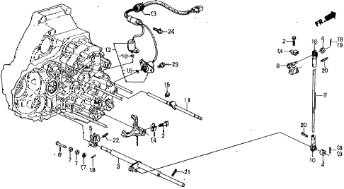 1990 civic 4WD(1600) 5 DOOR 4AT AT CHANGE ROD 4WD diagram
