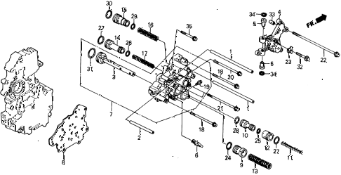 1991 civic 4WD(1600) 5 DOOR 4AT AT SERVO BODY diagram