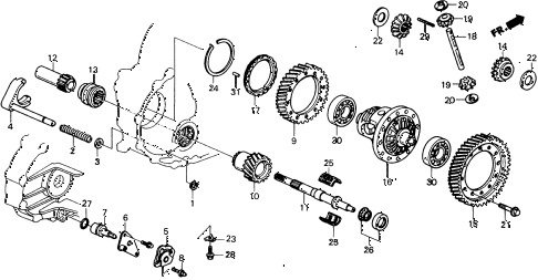 1989 civic 4WD(1600) 5 DOOR 4AT AT DIFFERENTIAL diagram