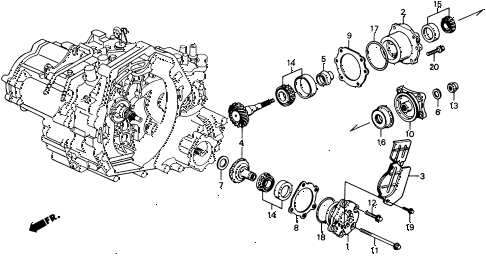 1990 civic 4WD(1600) 5 DOOR 4AT AT TRANSFER BEVEL GEAR 4WD diagram