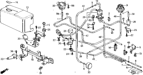 1990 civic DX 5 DOOR 4AT CONTROL DEVICE STAY (2) 2WD diagram