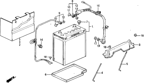 1988 civic DX 5 DOOR 4AT BATTERY - BATTERY CABLE diagram