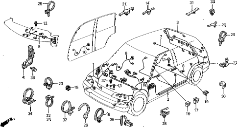 1988 civic DX 5 DOOR 4AT WIRE HARNESS diagram