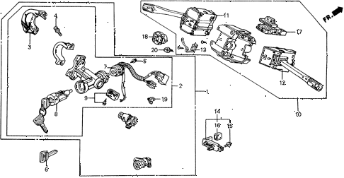 1988 civic DX 5 DOOR 4AT COMBINATION SWITCH diagram