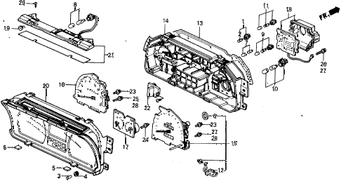 1990 civic 4WD(1600) 5 DOOR 5MT METER COMPONENTS (NIPPON SEIKI) diagram