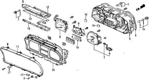 1989 civic DX 5 DOOR 5MT METER COMPONENTS (DENSO) diagram