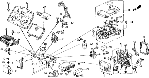 1989 civic 4WD(1600) 5 DOOR 5MT FUSE BOX - RELAY - HORN diagram