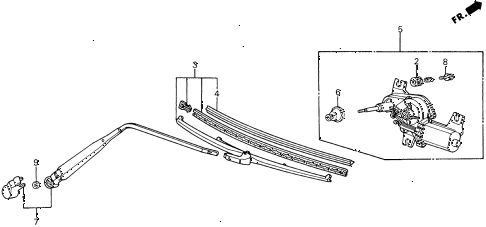 1988 civic DX 5 DOOR 4AT REAR WIPER diagram