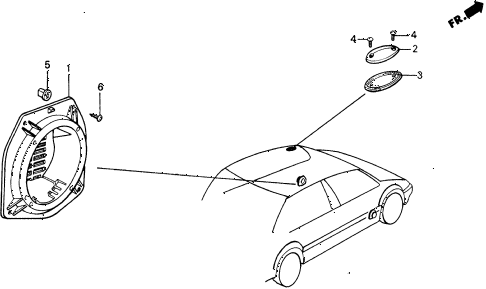 1991 civic 4WD(1600) 5 DOOR 4AT SPEAKER SEAL BRACKET diagram