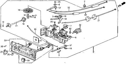 1989 civic 4WD(1600) 5 DOOR 4AT HEATER CONTROL diagram
