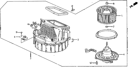 1990 civic 4WD(1600) 5 DOOR 5MT HEATER BLOWER diagram