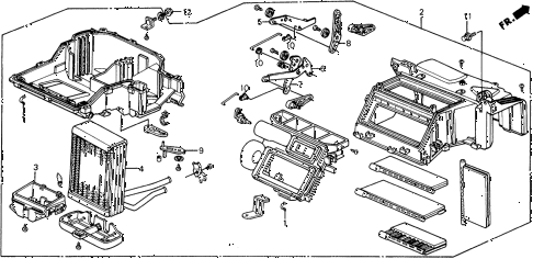 1988 civic DX 5 DOOR 4AT HEATER UNIT diagram