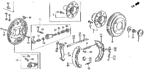 1989 civic 4WD(1600) 5 DOOR 5MT REAR BRAKE diagram