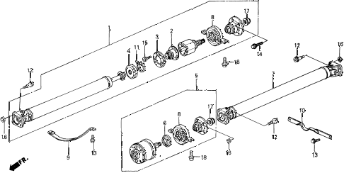 1990 civic 4WD(1600) 5 DOOR 4AT PROPELLER SHAFT 4WD diagram