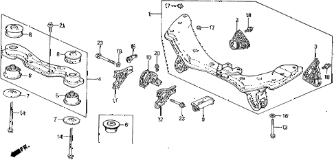 1990 civic 4WD(1600) 5 DOOR 4AT REAR AXLE 4WD diagram