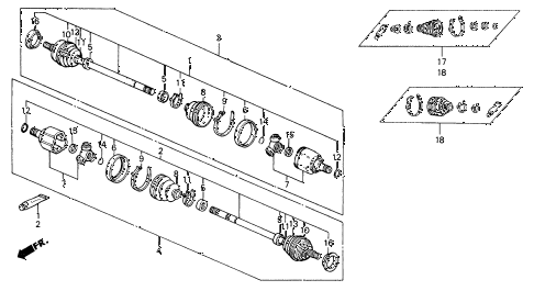 1991 civic 4WD(1600) 5 DOOR 4AT REAR DRIVESHAFT 4WD diagram