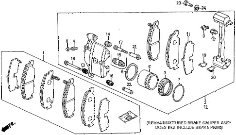 1991 civic DX 5 DOOR 5MT FRONT BRAKE CALIPER 2WD diagram