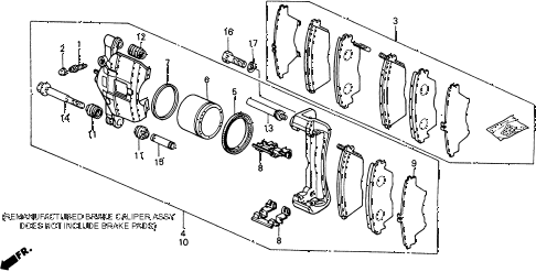 1990 civic 4WD(1600) 5 DOOR 5MT FRONT BRAKE CALIPER 4WD diagram
