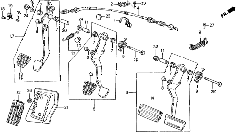 1990 civic 4WD(1600) 5 DOOR 5MT BRAKE PEDAL - CLUTCH PEDAL diagram
