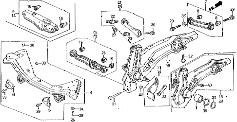 1990 civic 4WD(1600) 5 DOOR 4AT REAR LOWER ARM diagram