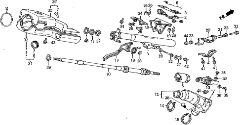 1988 civic DX 5 DOOR 4AT STEERING COLUMN diagram