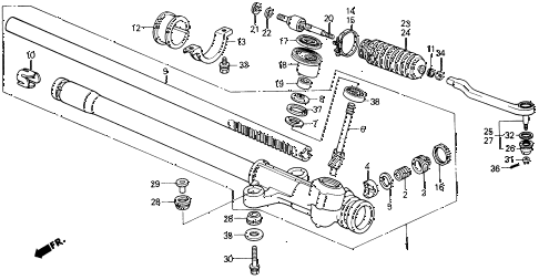 1989 civic **(WAGOVAN) 5 DOOR 5MT STEERING GEAR BOX diagram