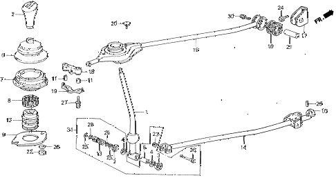 1991 civic DX 5 DOOR 5MT SHIFT LEVER (1) 2WD diagram