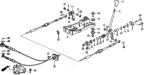 1989 civic 4WD(1600) 5 DOOR 5MT SHIFT LEVER (2) 4WD diagram