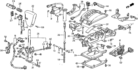1990 civic 4WD(1600) 5 DOOR 4AT SELECT LEVER (2) 4WD diagram