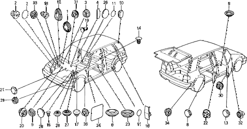 1990 civic DX 5 DOOR 4AT GROMMET - PLUG diagram