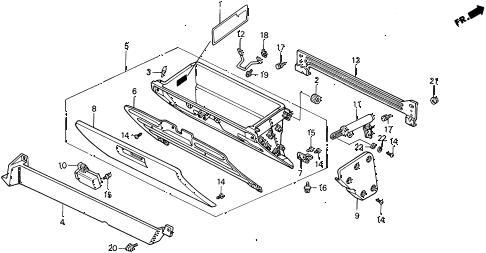 1991 civic 4WD(1600) 5 DOOR 4AT GLOVE BOX (2) diagram