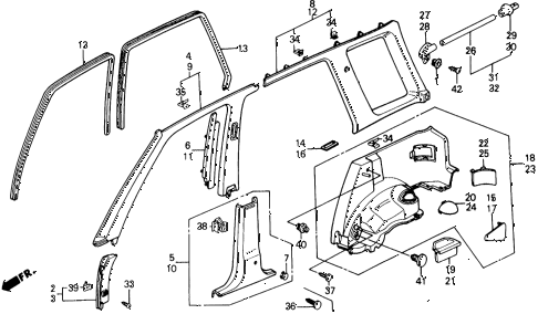 1991 civic 4WD(1600) 5 DOOR 4AT OPENING TRIM diagram