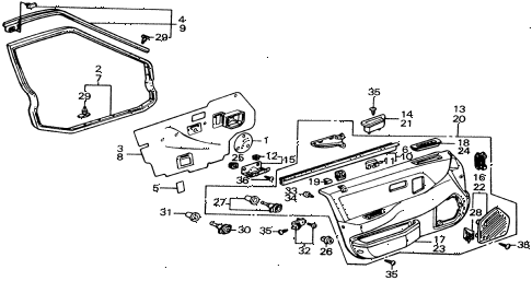 1988 civic 4WD(1600) 5 DOOR 5MT FRONT DOOR LINING diagram