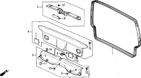 1988 civic DX 5 DOOR 4AT TAILGATE LINING diagram