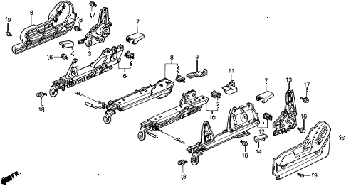 1991 civic 4WD(1600) 5 DOOR 4AT FRONT SEAT COMPONENTS (2) diagram