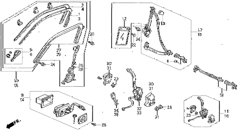 1991 civic 4WD(1600) 5 DOOR 4AT SEAT BELT (2) diagram