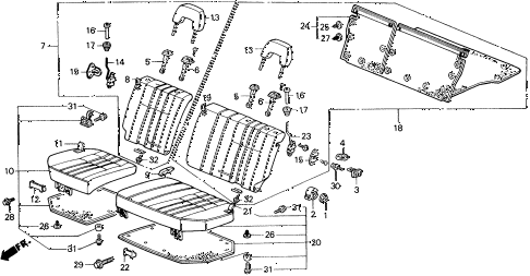 1990 civic 4WD(1600) 5 DOOR 5MT REAR SEAT (EXC. WAGOVAN) diagram